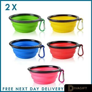 2pk Collapsible Dog Cat Pet Bowls Food Water Feeding Silicone Portable Travel