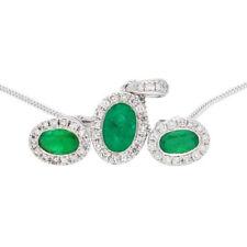 "9ct White Gold Emerald & Diamond Halo Pendant & Earring Set w/ 18"" Curb Chain"