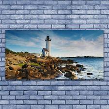 Acrylglasbilder Wandbilder Druck 140x70 Leuchtturm Steine Meer Landschaft
