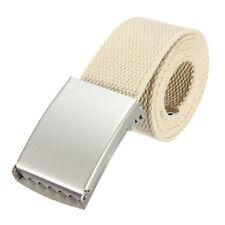 """51"""" Unisex Men Women Belts Webbing Cotton Fabric Silver Buckle Fashion Wear UK"""