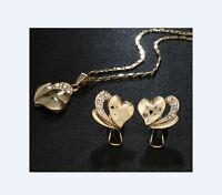 Design Set Halskette mit Ohrringe Herz Anhänger Modeschmuck Konvolut B3