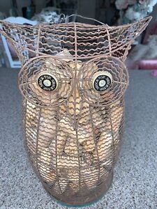 Wire Owl Canister Yard Art Full of Wine Corks Handmade Shock Top Bottle Cap Eye