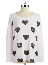 CHASER HEART PRINT TEE LONG SLEEVE PINK BLACK HEARTS GRAPHIC JERSEY T SHIRT L