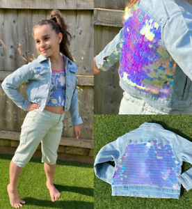 NEW Primark Girls Denim Jacket kids sequin summer soft Jean sparkle coat 3-15 yr