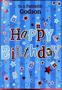 "Modern Fun Stars & Presents ""FANTASTIC GODSON"" Birthday Card"