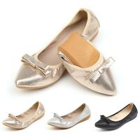 New Lady Foldable Ballet Flats Bowknot Slip On Simple Style Flat Shoes For Mommy