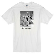 """FRED ASTAIRE AND GINGER ROGERS"" RETRO DANCING DANCERS MOVIE WHITE T-SHIRT"
