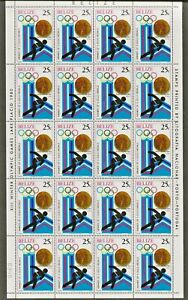 1980 BELIZE  LAKE PLACID-13th WINTER OLYMPIC GAMES SHEET OF 20 x 25c MNH