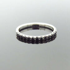 14K White Gold 0.39ct Black Diamond Micro Pave Wedding Band Stackable Pave Ring