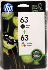 2-PACK HP GENUINE 63 Black & Tri-Color Ink OFFICEJET 4650 4652 4655 Exp 10/2019