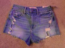 "Hollister Vintage Shorts High Rise Denim Size 1 W 25"" Short Hot Pants New!"