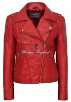 Ladies LACED RED Biker Style Motorcycle Soft Napa Italian Leather Jacket 9824