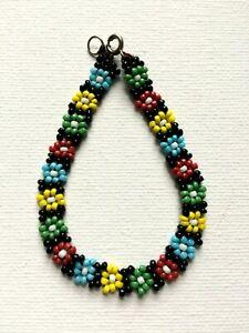 Glass Seed Bead Flower Bracelet Hippy Love Beach Festive Summer