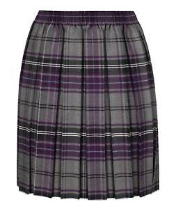 Grey & purple Box Pleated Tartan skirts Elasticated waist schoolwear,fancy dress
