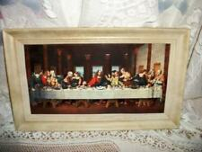 VINTAGE CHIC 3D TIN LAST SUPPER CHIPPY CREAMY FRAME SHABBY COTTAGE