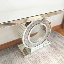 MIRRORRED CONSOLE TABLE UNIT ROUND MIRROR CRUSHED DIAMOND CRUSH CRYSTAL MODERN