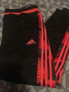 Adidas Men's Climalite Black Pants  Size L Workout Running Ankle Zip Unisex