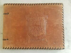 Vintage Antique French Tooled Leather Photo Album Scrapbook - Never Used
