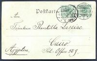 GERMANY TO EGYPT Circulated Postcard 1899 VF