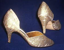FREDERICO LEONE LADIES GOLD BRIDAL FORMAL PUMPS SHOES size 5 ½  NEW IN THE BOX