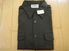 NOS! 70s vtg BIG YANK mens union made WORK SHIRT charcoal dark green 16 16.5 USA