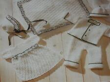 Baby's Dress,Pram Quilt,Bonnet,Hat,Jacket and Pants size 12-18 knitting pattern