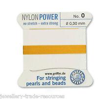 Ámbar amarillo Nylon Potencia sedoso Hilo 0,3 mm de Encordar Perlas Y Cuentas Griffin 0