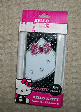 Hello Kitty black pink white polka dotted rhinestones iPhone 5 cell phone case