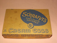 VINTAGE SCHRAFFT'S CHOCOLATE COVERED CREAM EGGS 5 CENTS OLD AD BOX