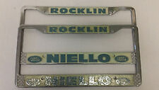 Rocklin CA Niello Land Rover License Plate Frames Pair 2 Set Embossed Tags Metal