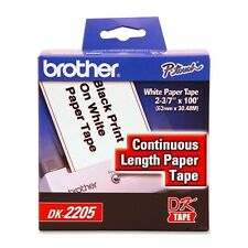"Brother DK2205 DK tape 62mm 2 3/7"" inch 100 feet continuous label QL550 570 2205"