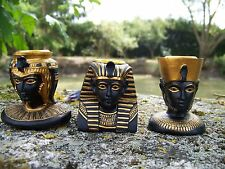 2986    FIGURINE STATUETTE   3  BOUGEOIR OR ET NOIR EGYPTE  RESINE  20%