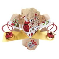 SANTA FATHER CHRISTMAS & TREE POP UP GREETINGS CARD 3D SECOND NATURE XMAS P029