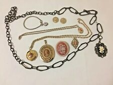 VINTAGE CAMEO JEWELRY LOT Brooch Necklaces Bracelet UNTESTED Gold 3 LOCKETS WOW