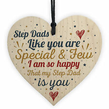 Step Dad Father Gift Christmas Birthday Gift Wooden Heart Plaque Thank You Gifts