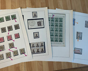 Old Stamps from Luxembourg - Mint & Used - 4 study sheets - 1927 to 1963