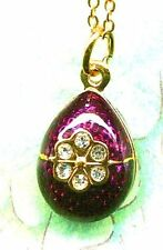 Gold-Plated Crystal Purple Rose Russian Faberge Inspired Egg Pendant Necklace