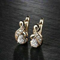 1.25 Ct Pear Diamond Vintage Infinity Wedding Hoop Earrings 14K Yellow Gold Over