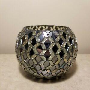 Small Gray Glass Mosaic Tile Flower Bowl