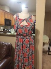 NWT Anthropologie Lilka Multi Colored Floral Rose Detail Dress Size L Navy Marin