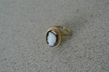 Vintage Antique 10K Yellow Gold Black Onyx CAMEO Women's Ring Size 4.5 to 5