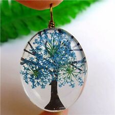 1Pcs Delicate Blue Crystal Dried Flower Oval Pendant Bead 40*30*15mm AE2636