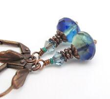 GLASS Earrings ~OCEAN BLUE GREEN FACETED CZECH BEADS RUSTIC COPPER PIERCED DROPS