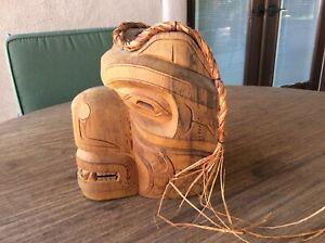 Northwest Coast Mask, signed Jason Hunt, of Carved Cedar Wood