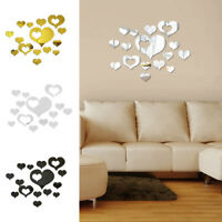 Creative 3D Love Heart Acrylic Mirror Wall Stickers Home Decals Removable Decor