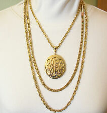 LOCKET Triple CHAINS Gold Plate Necklace Vintage Rope Cable Curb Link ORNATE