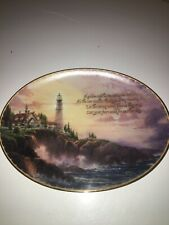 New listing 1997 Clearing Storms Oval Plate by Thomas Kinkade 4th issue in Guiding Lights