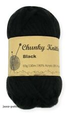 Knitting Crochet Yarn thick soft Super Bulky 5 x 60g - Black - 30m