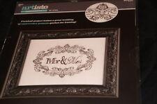 Mr. & Mrs. Wedding marriage ornate border Artiste Stamped Embroidery Kit NIP