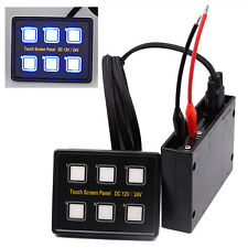 6 Gang 12v/24v LED Touch Screen Slim Switch Control Panel Car Truck Boat Marine